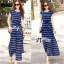 Lady Ribbon's Made Lady Ribbon Blue & White Stripe Pleatpleats Maxi thumbnail 3