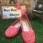 รองเท้าหนังกำมะหนี่ลายสานสีชมพู