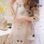 Korea Design By Lavida sweety floral printed feminine cream dress thumbnail 2