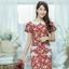 XL775 ชุดเดรสผ้า Canvas พื้นแดงลายดอก แต่งปก กระเป๋า ติดโบว์ ผ้าสีขาว เพิ่มความน่ารักให้กับชุด thumbnail 7