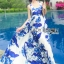 Lady Grace Sexy Elegant White and Blue Printed Cut-Out Back Maxi Dress thumbnail 4