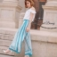 Cut off embroidery white blouse and blue stripe print flares set by Sweet Bunny thumbnail 2