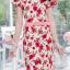 XL931 ชุดเดรสผ้าพื้นขาวลายดอกแดง เอวและชายกระโปรงแต่งระบาย น่ารักมากค่ะ ใส่สบาย ใส่ได้หลายโอกาส thumbnail 9