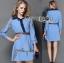 Lady Ribbon's Made Gucci Blue Denim Cotton and Lace Shirt Dress thumbnail 3