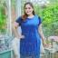 3 Size= ,2XL,3XL,4XL, ชุดเดรสสาวอวบ++ ผ้าชีฟองฉลุลายสีน้ำเงิน นำเข้าจากญี่ปุ่น แขนชีฟองระบาย 2 ชั้น thumbnail 11