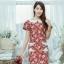 XL775 ชุดเดรสผ้า Canvas พื้นแดงลายดอก แต่งปก กระเป๋า ติดโบว์ ผ้าสีขาว เพิ่มความน่ารักให้กับชุด thumbnail 14