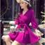 Lady Ribbon's Made Lady Stella Sexy Vivid Color Wrap Dress with Ribbon สีม่วง thumbnail 1