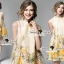 Seoul Secret Say's... Yellow Flora Girly Silkly Dress thumbnail 6