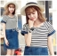 Lady Miranda Casual Minimal Striped and Denim Dress thumbnail 5