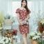 XL775 ชุดเดรสผ้า Canvas พื้นแดงลายดอก แต่งปก กระเป๋า ติดโบว์ ผ้าสีขาว เพิ่มความน่ารักให้กับชุด thumbnail 6