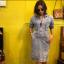 vintage dress : เดรสยีนส์ผ้าฟอกงานปัก ทรงสอบเข้ารูป ซิบหน้า ผ้ายีนส์แท้ไม้ยีืด งานสวยหายาก thumbnail 1
