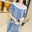 Seoul Secret Say's... Lacely Colar Denim Dress สีอ่อน thumbnail 1