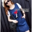 Lady Ribbon's Made Lady Leslie Fashionable Red Ribbon High Heel Embroidered Cotton and Denim Dress thumbnail 1