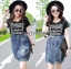 Lady Ribbon's Made Lady Natalie Street Chic Printed Jersey with Denim Mini Dress สีดำ thumbnail 3