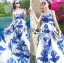 Lady Grace Sexy Elegant White and Blue Printed Cut-Out Back Maxi Dress thumbnail 2