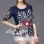 Seoul Secret Say's... Bloom Rope Stick Navy Dress thumbnail 1