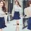 Seoul Secret Say's...Back Rive Lace Denim Dress thumbnail 5