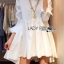 Lady Ribbon's Made Lady Jane Feminine Asymmetric Peplum Cotton Shirt Dress สีขาว thumbnail 3