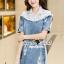 Seoul Secret Say's... Lacely Colar Denim Dress สีอ่อน thumbnail 4