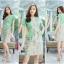 M,L,XL, 3XL ,5XL ชุดเดรส-ชุดเดรสไซส์ใหญ่ ทรงสูทผ้า Hanako สีเขียว ชุดและขอบเอวผ้าไหมลายดอก thumbnail 3