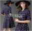 Lady Ribbon's Made Lady Amanda Smart Chic Check Printed Buttoned Dress with Belt thumbnail 4