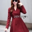 Lady Ribbon's Made Lady Samantha Smart Chic Double-Breasted Cotton Dress สีแดง thumbnail 2