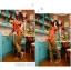 เสื้อเชิ๊ต คอปก แขนสี่ส่วน กระดุมหน้า ลายจุดสีสดใส เสื้อสีน้ำเงิน รหัส 44102-ส้ม thumbnail 3
