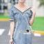 Seoul Secret Say's...V Stripy Collar Denim Dress thumbnail 2