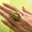 แหวนถมทอง ลายสุโขทัย ลงยา ประดับพลอย ลายดอกไม้ thumbnail 4