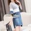 Seoul Secret Say's... Sweet Gray Stripe Denim Dress thumbnail 3