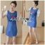 Lady Ribbon's Made Lady Leslie Fashionable Red Ribbon High Heel Embroidered Cotton and Denim Dress thumbnail 2