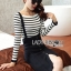 Lady Ribbon's Made Lady Elena Super Chic Striped Wool Knit Sweater and Overall Dress สีดำ thumbnail 3
