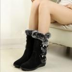 (Pre Order) รูปแบบใหม่! รองเท้าบูทผู้หญิงฤดูหนา ขนแฮนด์เมดหญิงหิมะบูทข็มขัดหัวเข็มขัดที่อบอุ่น มี 2 สี ดำ,น้ำตาล ไซส์ 36,37,38,39,40,41,42,43