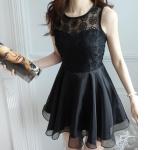 (Pre Order) เดรสสั้นแขนกุดvestitiดอนชุดลูกไม้ ชุดน่ารักมากVestidos De R Enda มี 2 สีให้เลือก สีดำ,สีขาว