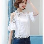 (Pre Order) B lusas Femininaผู้หญิงเสื้อท็อปส์แฟชั่นโครเชต์เสื้อผู้หญิงเสื้อลูกไม้สีขาวงปิดไหล่ เนื้อผ้าชีฟอง มีสีเดียวขาว ขนาดสินค้า S,M,L,XL,XXL