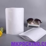 ถุงกระดาษสีขาวเคลือบด้าน ทึบ ซิปล็อค ตั้งได้ ขนาด 16x24+4cm