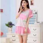 (Pre Order) ชุดนอนผ้าฝ้ายการ์ตูนแขนสั้นกางเกงขาสั้นชุดชุดนอน Nightgown มี 4 ขนาด M,L