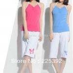(Pre Order) ชุดนอนฤดูร้อนของผู้หญิงชุดนอนผ้าฝ้าย 100% มี 2 สีให้เลือก สีชมพู,สีฟ้า, ขนาด S,M,L