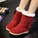 (Pre Order) รองเท้าบูทกันหนาวผู้หญิงบุขนด้านใน ตกแต่งด้วยโบว์น่ารักมาก มี 3 สี ดำ,แดง,เทา,ไซส์ 35,36,37,38,39