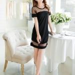 (Pre Order) ฤดูร้อนผู้หญิงเซ็กซี่ Dress แขนสั้นสุทธิเส้นด้าย ผ้าชีฟอง ชุดมี 2 สีชุดสีน้ำ,เงินสีดำ ขนาดสินค้า S,M,L,XL,XXL