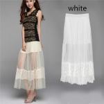 (Pre Order) กระโปรงมาใหม่ช่วงฤดูร้อนหญิงกระโปรงผู้หญิงความยาวกระโปรงยาวผ้าสไตล์เกาหลี มี 2 สีให้เลือก สีดำ,สีขาว ขนาดสินค้า Free Size