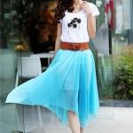 (Pre Order) ฤดูใบไม้ผลิและฤดูร้อนกระโปรงผู้หญิงผ้าชีฟองกระโปรงยาว Maxi Skirt กระโปรงโบฮีเมียนสมส่วนมาพร้อมกับเข็มขัด มี 3 สีให้เลือก สีดำ,สีฟ้า,สีน้ำเงิน, ขนาดสินค้า Free Size