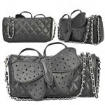 (Pre Order) กระเป๋าแบบใหม่ผีเสื้อปมครอสและกระเป๋าสะพายเดี่ยว สินค้ามีสีเดียว สีดำ