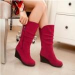 (Pre Order) รองเท้าเวดจ์ผู้หญิงหนัง PU ฤดูใบไม้ผลิฤดูใบไม้ร่วงรองเท้ากันหนาว มี 7 สีให้เลือก ไซส์ 35,36,37,38,39