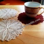 ที่รองแก้ว รองแจกัน ประดับโครเชต์ สีส้ม สีดำ Crochet S12