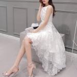 (Pre Order) เดรสสั้นฤดูร้อนMaxi D Ress ผู้หญิงO-คอแขนกุดชุดสวยและน่ารักมาก มีสีขาวสีเดียว ขนาด S-XL