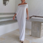 (Pre Order) S / M / L / XL ผู้หญิงเซ็กซี่ Romatic ชุดยาว Boho แขนสั้น คอยาว Maxi Dress สินค้ามีสีเดียว ขนาดสินค้า S,M,L,XL