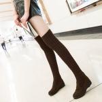 (Pre Order) รองเท้าฤดูหนาวขนสัตว์ใหม่รองเท้าเข่าสูงสวมใส่รองเท้ายืดหยุ่นด้วยเวดจ์ส้นแบน มี 2 สี ดำ,น้ำตาล ไซส์ 35,36,37,38,39,40