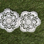 ที่รองแก้ว รองแจกัน ประดับโครเชต์ Crochet S3 White