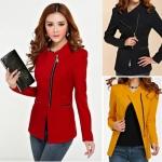 (Pre Order) เสื้อแขนยาวผู้หญิงฤดูหนาวแจ็คเก็ตแขนยาวขนาดบวกซิป มี 3 สี แดง,ดำ,เหลือง ไซส์ S,M,L,XL,XXL